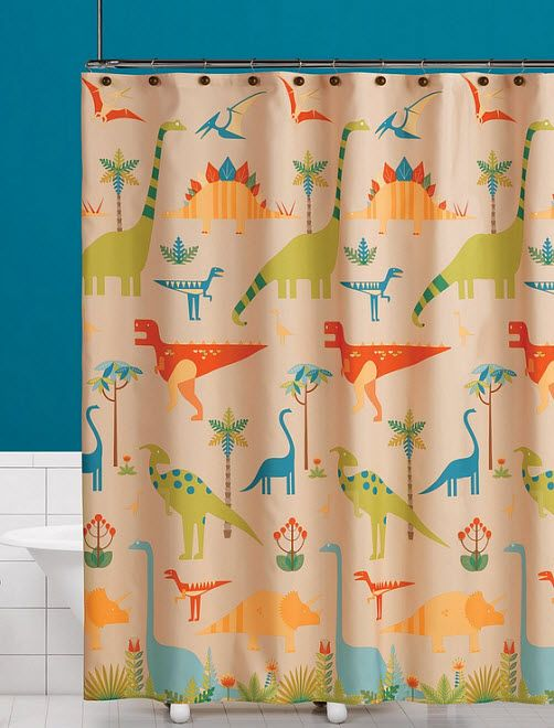 dinosaur shower curtain | foregather.net | Dinosaur Shower Curtain ...