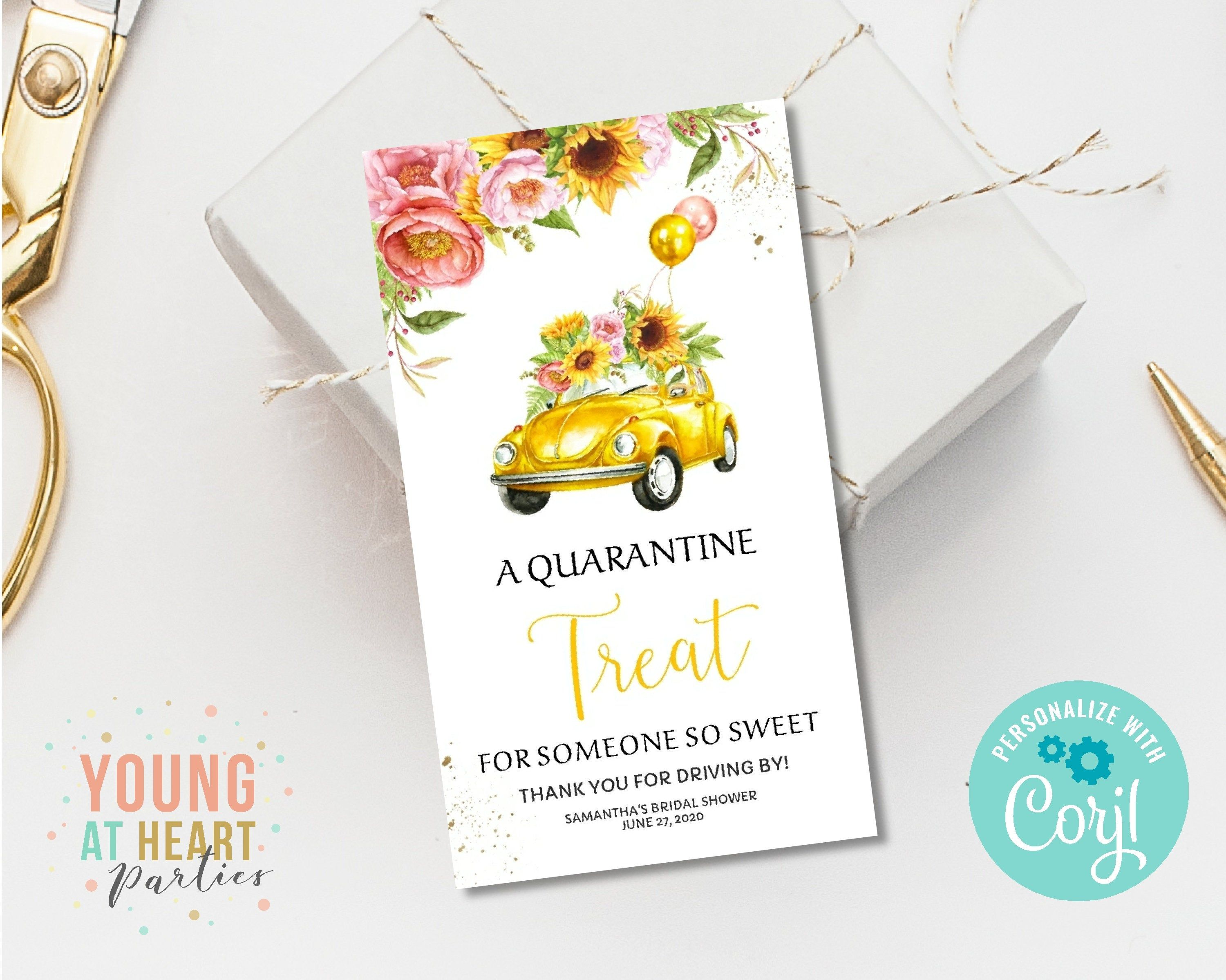Drive through bridal shower favor tags yellow sunflower