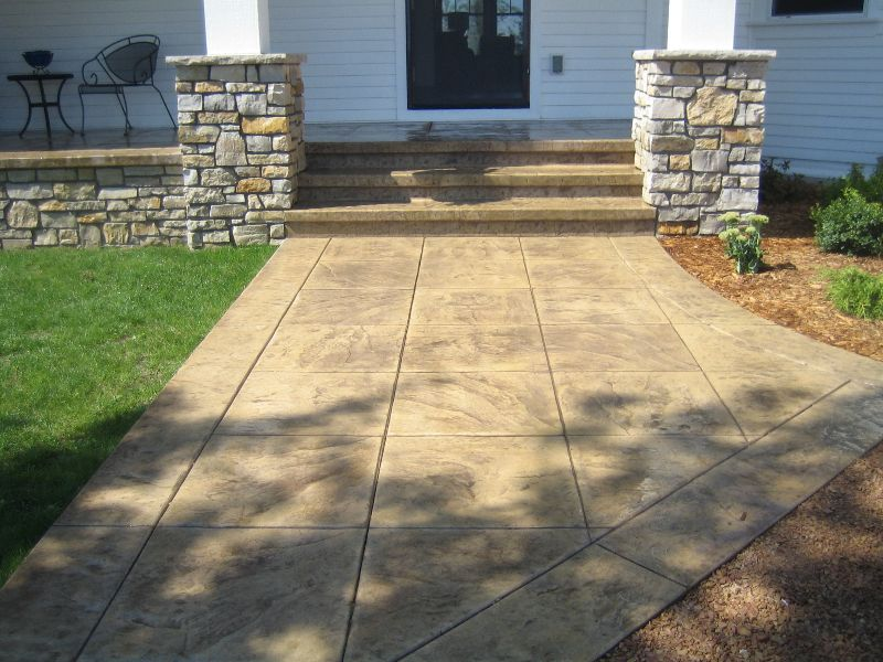 Sandstone/Grey coloured pavers Stamped Concrete Steps | Ace Concrete ...