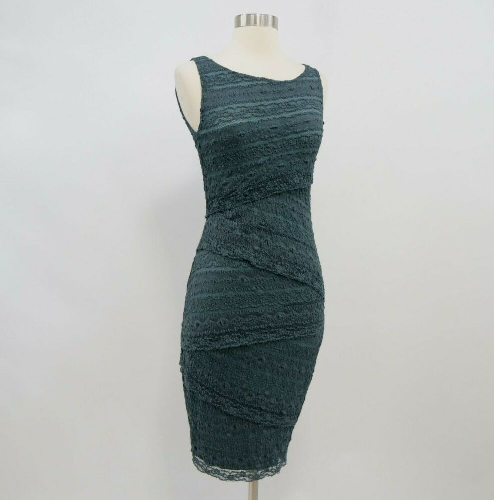 Bailey 44 Dress Womens S Small Layered Lace Tiered Petrol