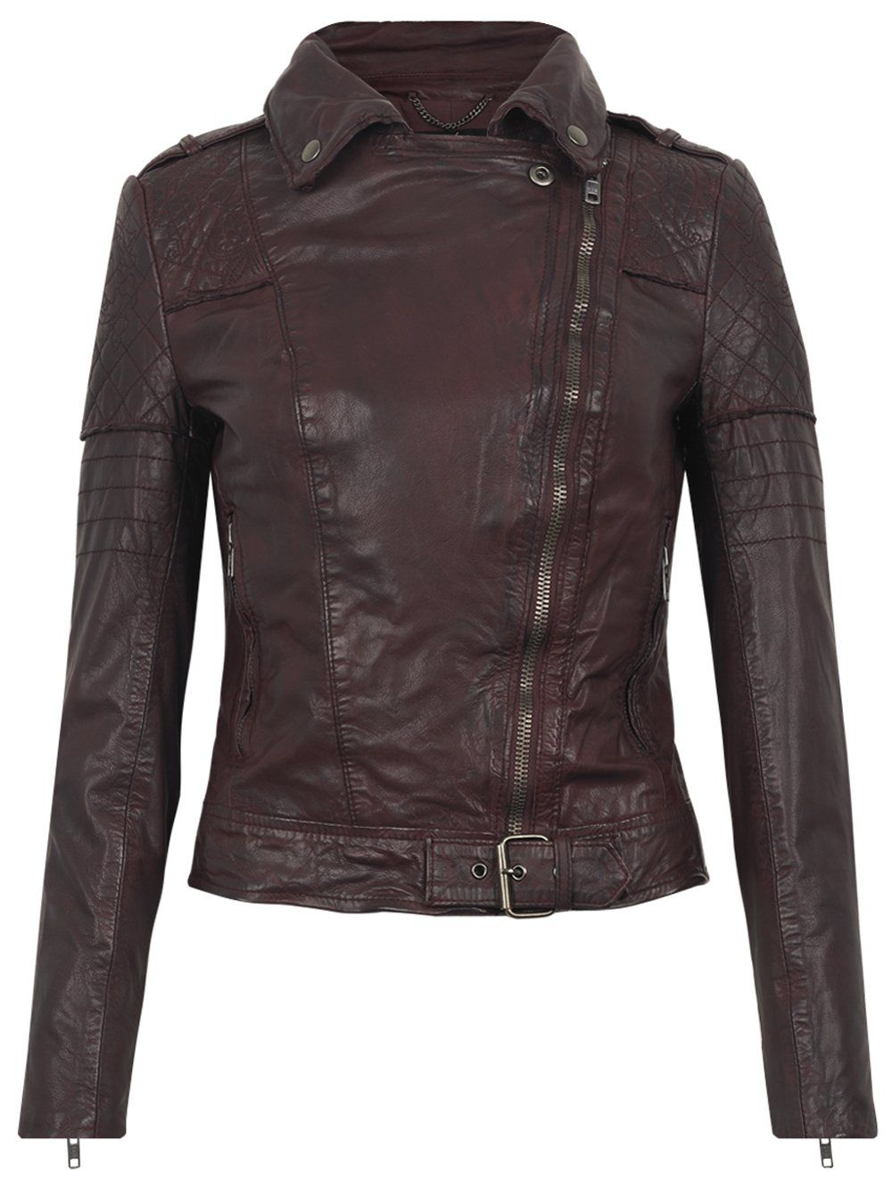 Minsk Leather Quilted Biker in Berry Косуха, Куртка