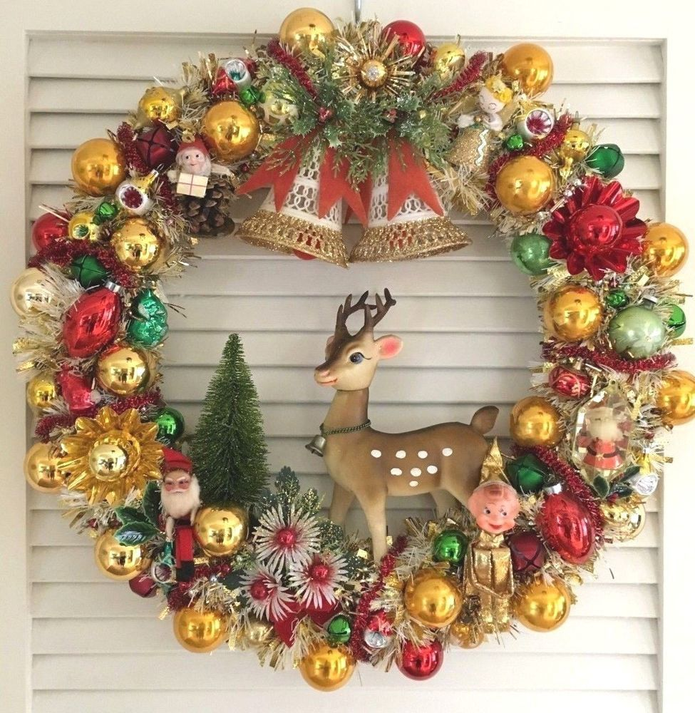 Vintage Christmas Ornament Wreath Reindeer Knee Hugger Gold Mercury Glass Christmas Wreaths Christmas Decorations Wreaths Vintage Christmas Decorations