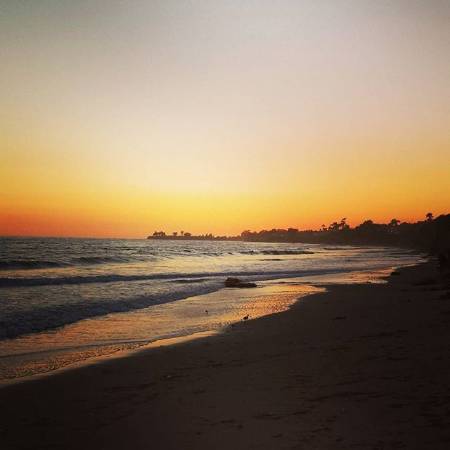 California Sunset Beach Waves Beautiful Nature Santabarbara Ucsb