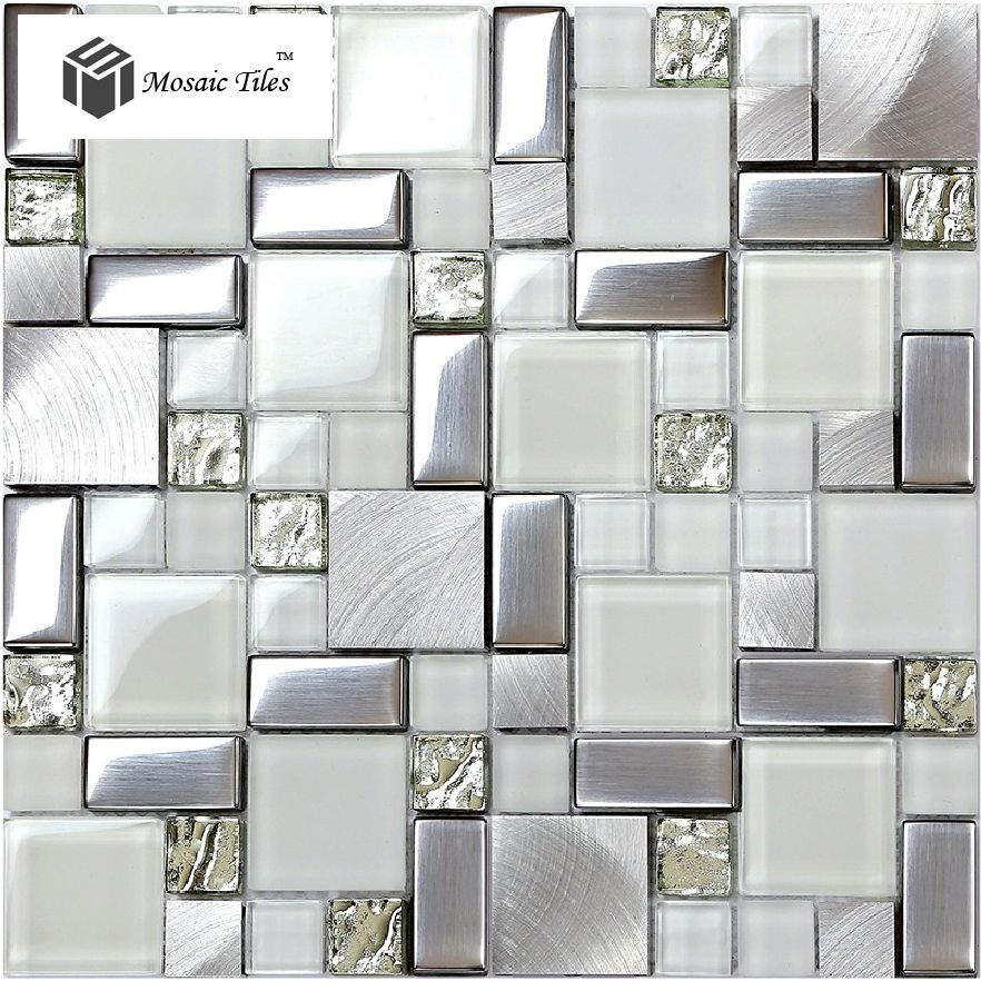 White Iridescent Mosaics Glass Silver Kitchen Backsplash Tile