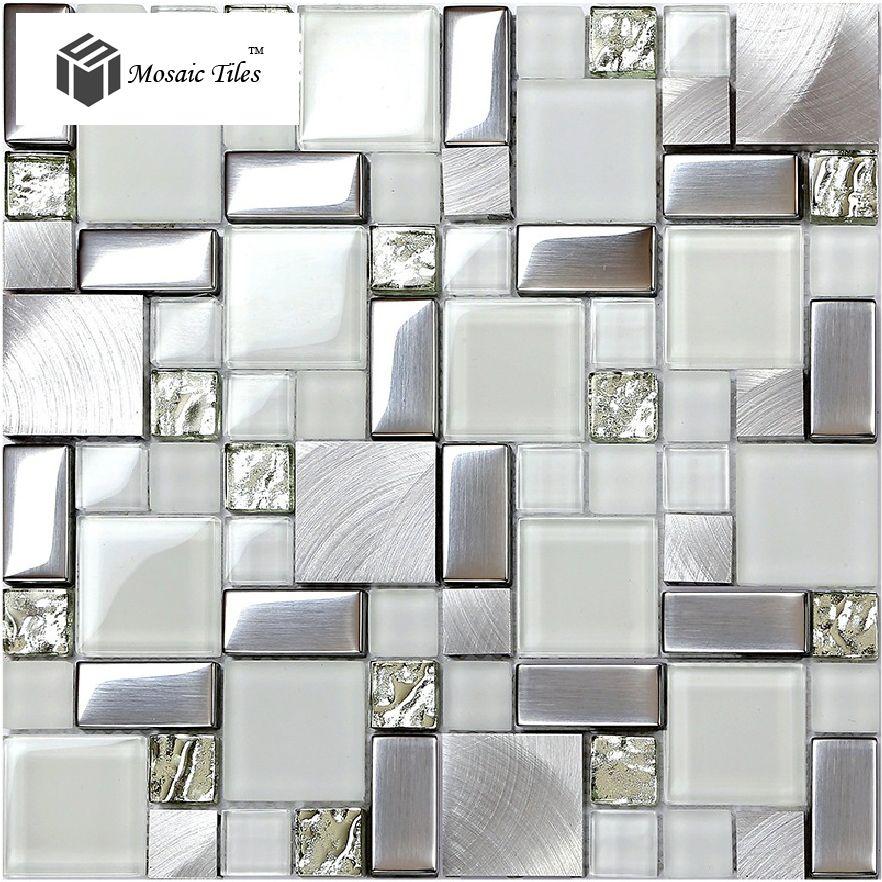 Super White Glass Glitter Mosaic Tile Metallic Kitchen Backsplash Design Fireplace Bathroom Shower Wal Glass Bathroom Metal Backsplash Kitchen Glitter Bathroom