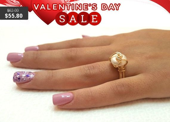Pearl ring Freshwater pearl engagement ring 14k gold by tamarmany