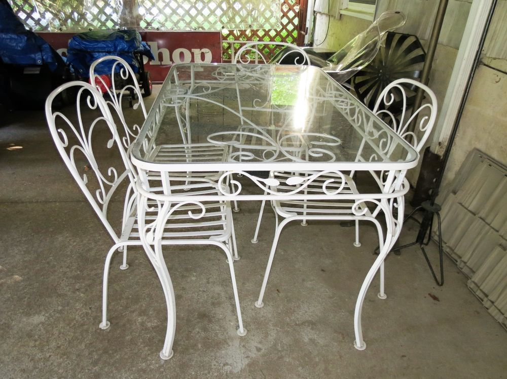 adf93bce342f Salterini Vintage Wrought Iron Dining Set Table 4 Chairs w  cushions   MidCenturyModern  Salterini
