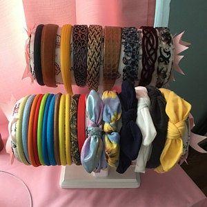 Headband Holder or head band holder hairbow organizer board Pink paris Handmade combination holder