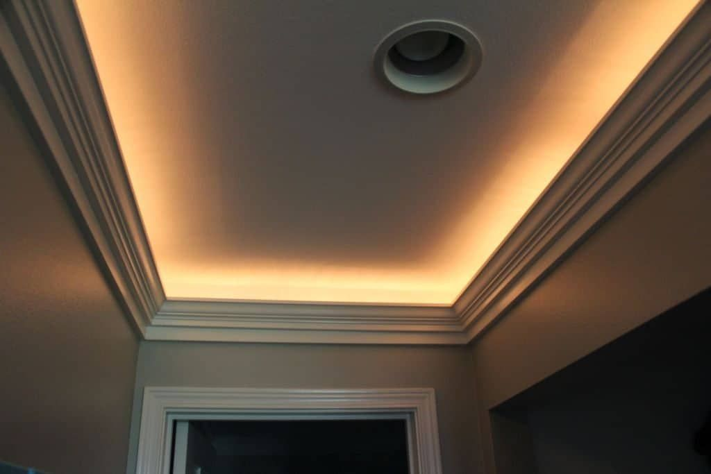 Narrow Tray Ceiling Illuminated With Rope Lighting And