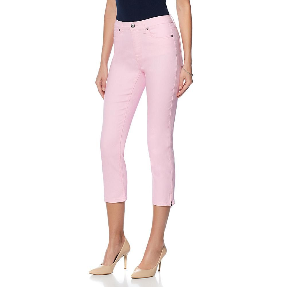 DG2 by Diane Gilman Cropped Ankle-Zip Skinny Jean - Fashion Colors - Lilac Pink