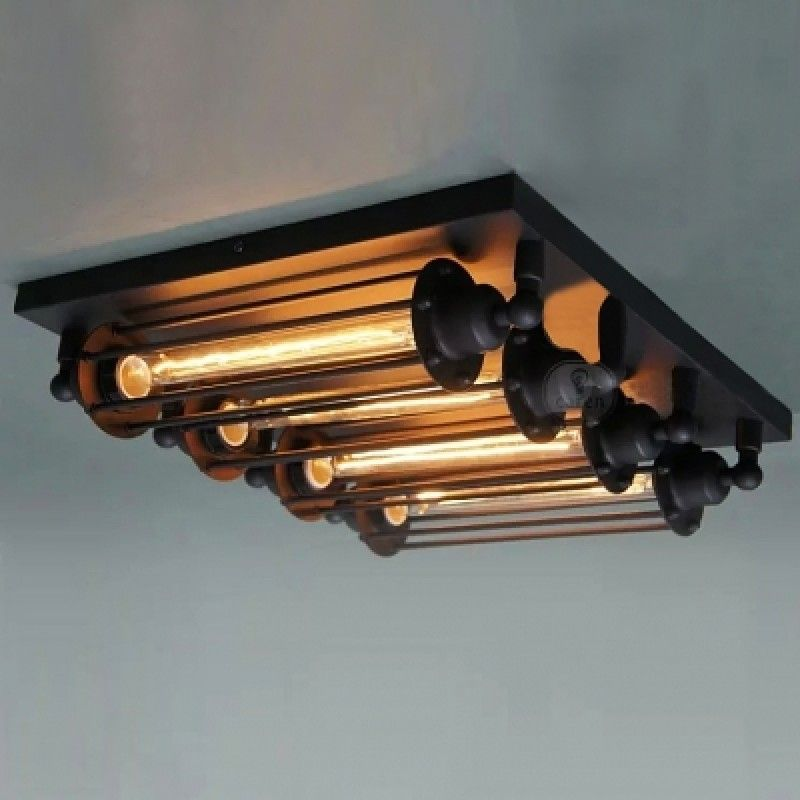 4 Light Black Punk Steam Flush Mount With Long Edison Bulbs
