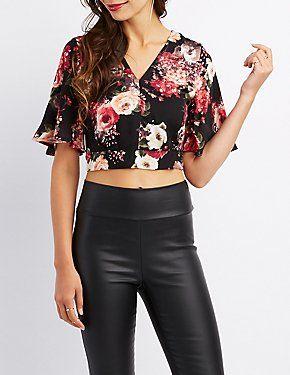 98fc67df06c91 Floral Kimono Sleeve Crop Top