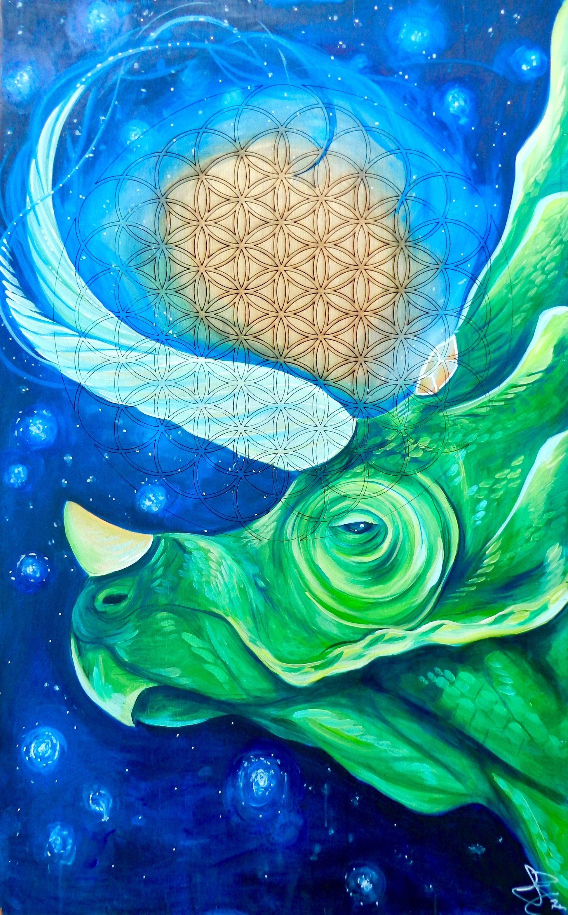 dinosaur ll triceratops ll sacred geometry ll universal ll  dinosaur ll triceratops ll sacred geometry ll universal ll visionary art ll skavenge art ll selena