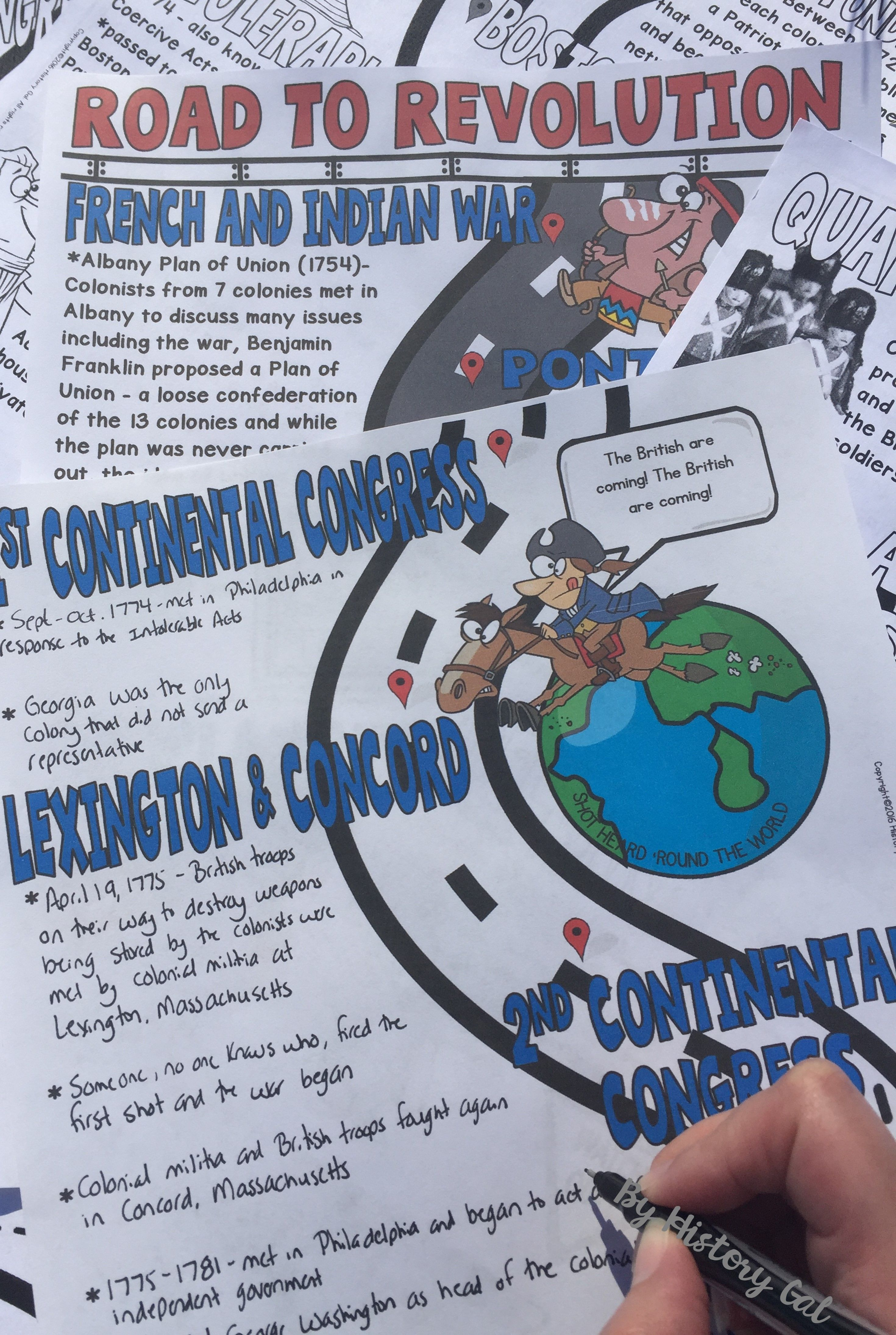 American Revolution Road To Revolution Doodle Notes