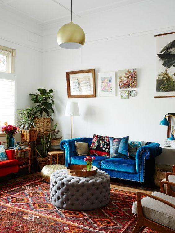 Inspiration déco  Des tapis ethniques European style, Blue velvet - deco maison avec poutre