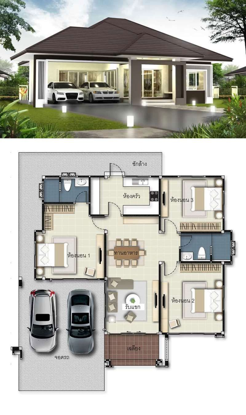 Home Design Plan 12x12m With 3 Bedrooms Home Design With Plansearch Modern Bungalow House Beautiful House Plans Bungalow House Design