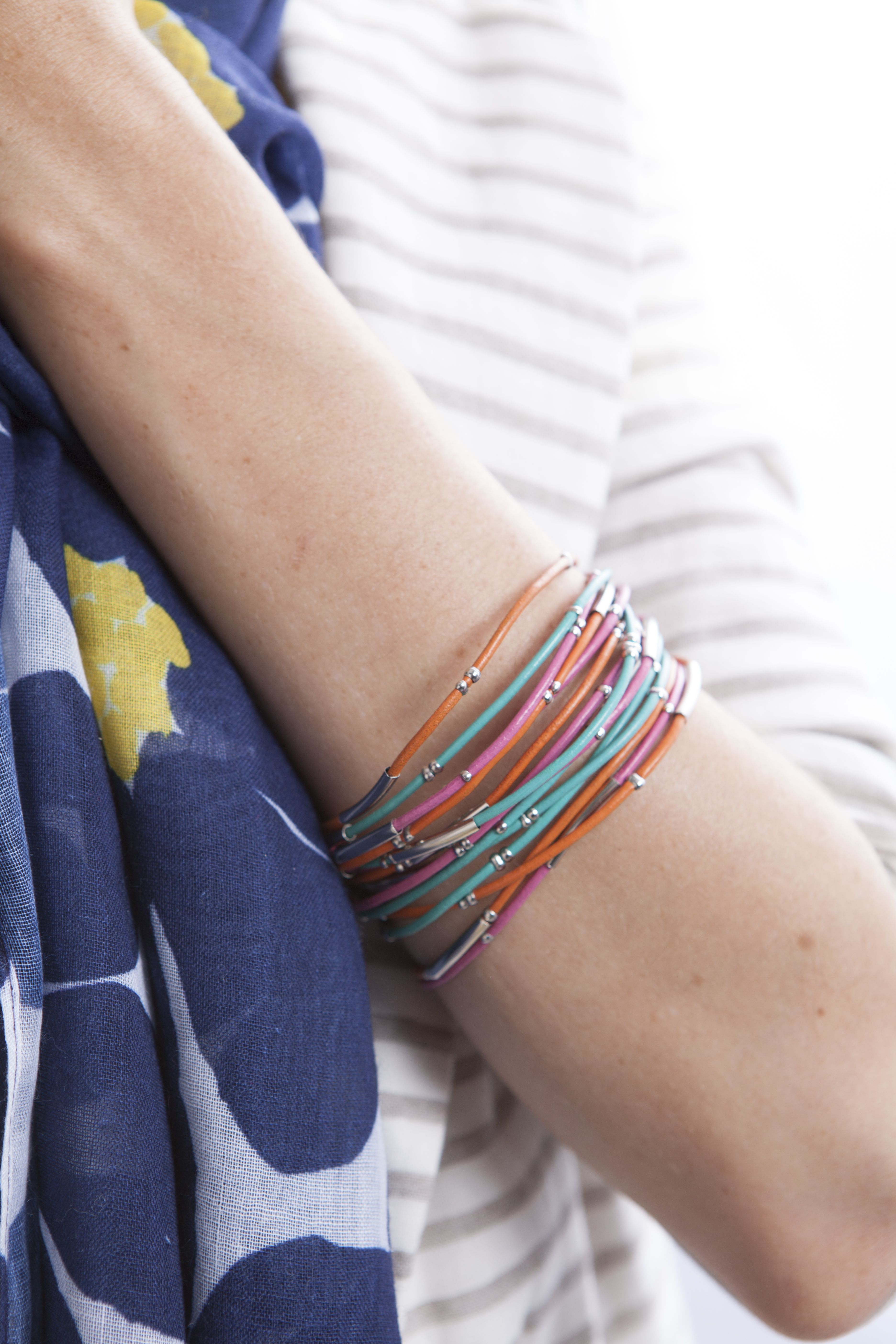 Bracelets and other accessories are part of the Mixed Bag Designs collection of reusable bags and totes