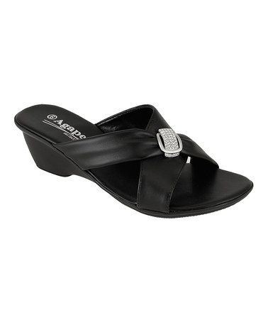 71a1ff9f6 Look what I found on  zulily! Black Rhinestone Holding Sandal ...