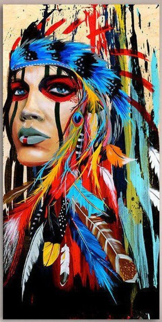 Portrait Canvas Art Wall Pictures For Living Room- Indian Woman Feathered Pride Painting- Home Decor Imprimé