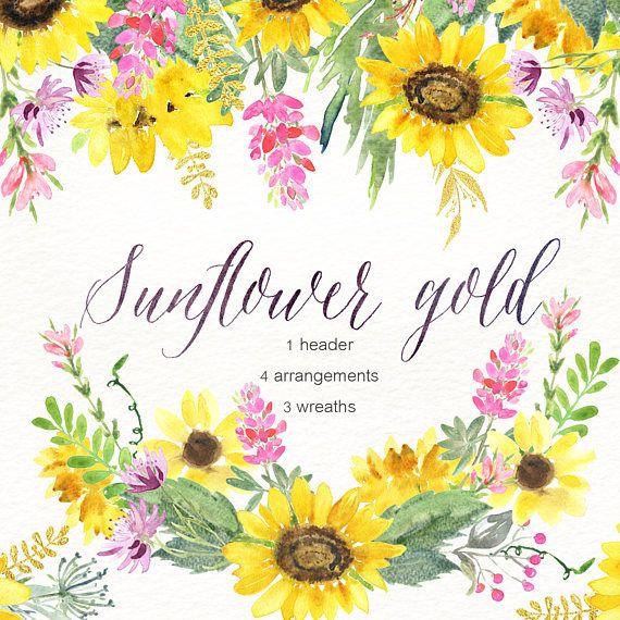 Sunflower Gold Watercolour Clipart Hand Drawn Wreaths Header