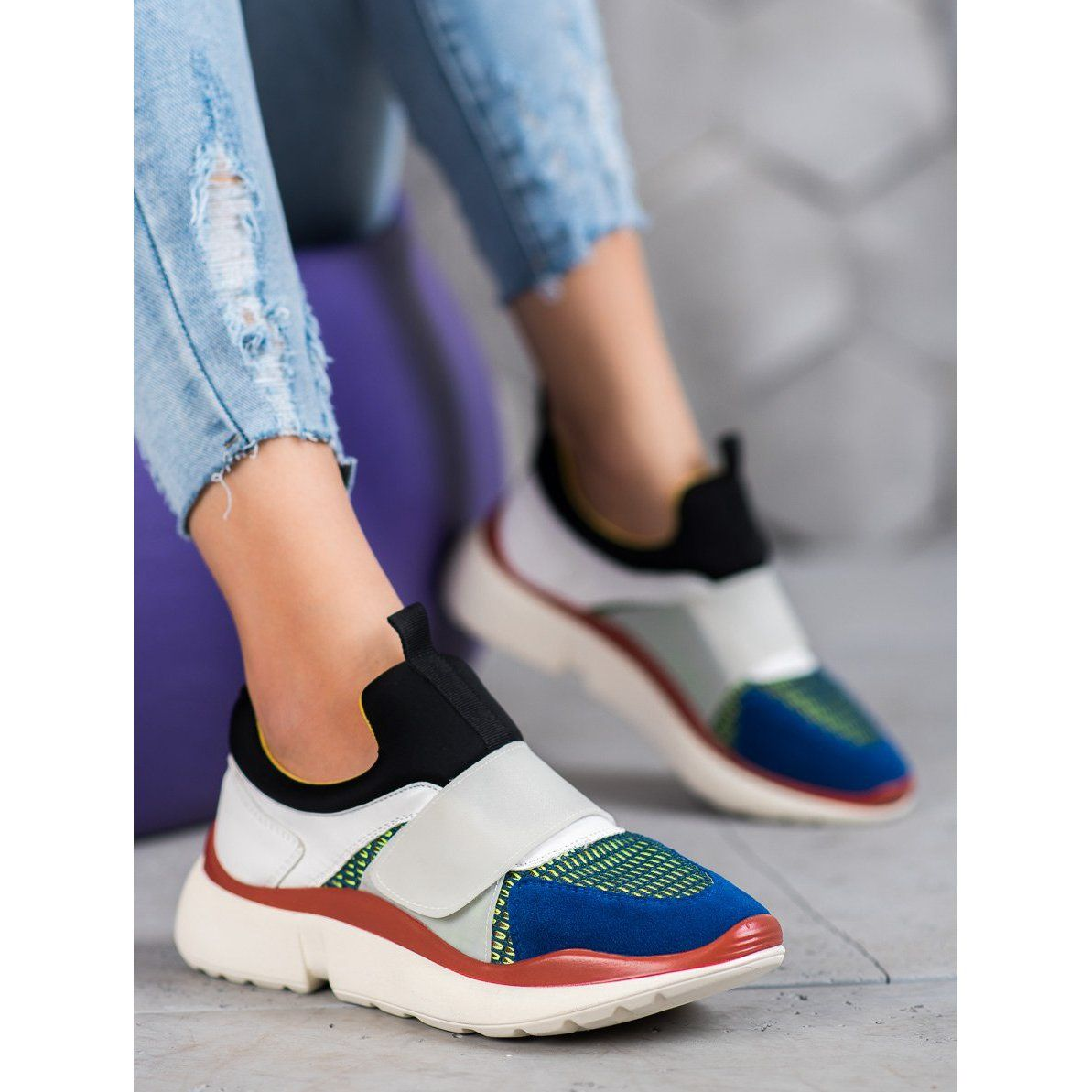 Sweet Shoes Lekkie Buty Sportowe Na Rzep Wielokolorowe Shoes Slip On Sneaker Sneakers
