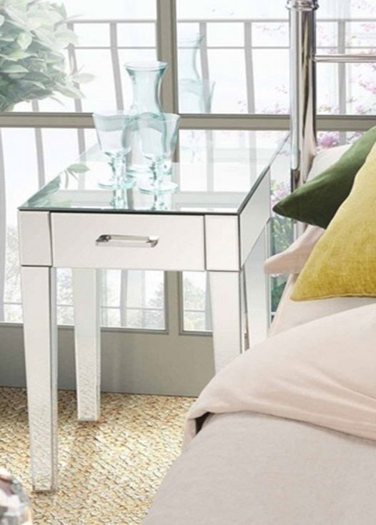 Mirrored Bed Side Table Glass Stand Bedroom Entry Way Contemporary ...