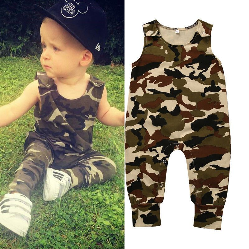 Newborn Baby Boys Camouflage Romper Bodysuit Jumpsuit Kids Clothes Outfit Set