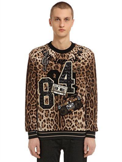 DOLCE & GABBANA Leopard Brocade Sweatshirt W/ Patches, Leopard. #dolcegabbana #cloth #sweatshirts