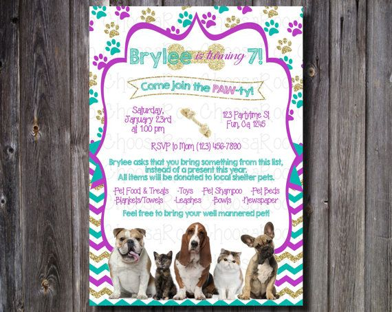 Animal shelter donation party Donations instead of gifts Dog theme - birthday invitation wording no gifts donation