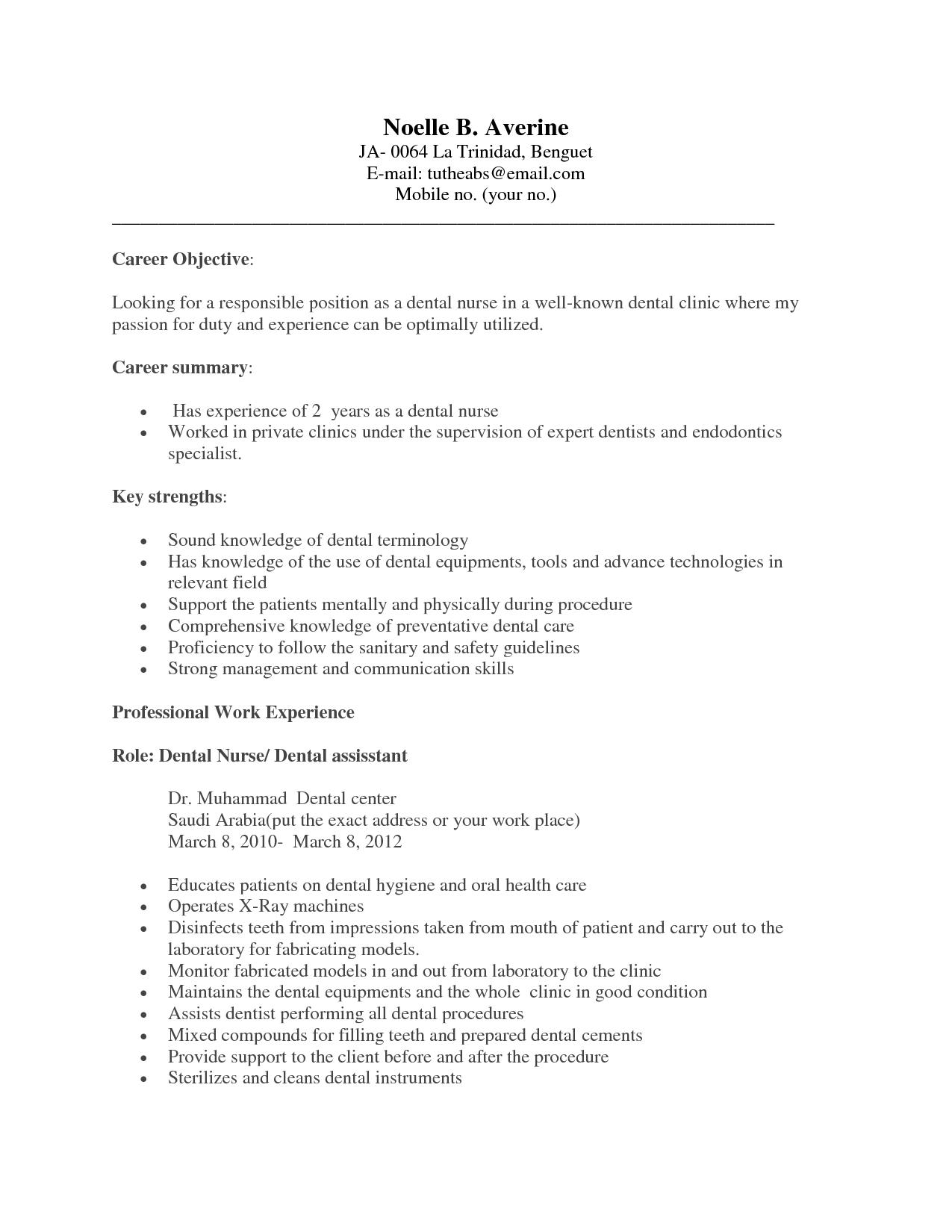 Resume Objective Dental Hygienist http//www