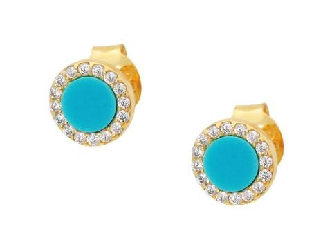 Fronay Co, Mini Circle Gold Turquoise Center Studs