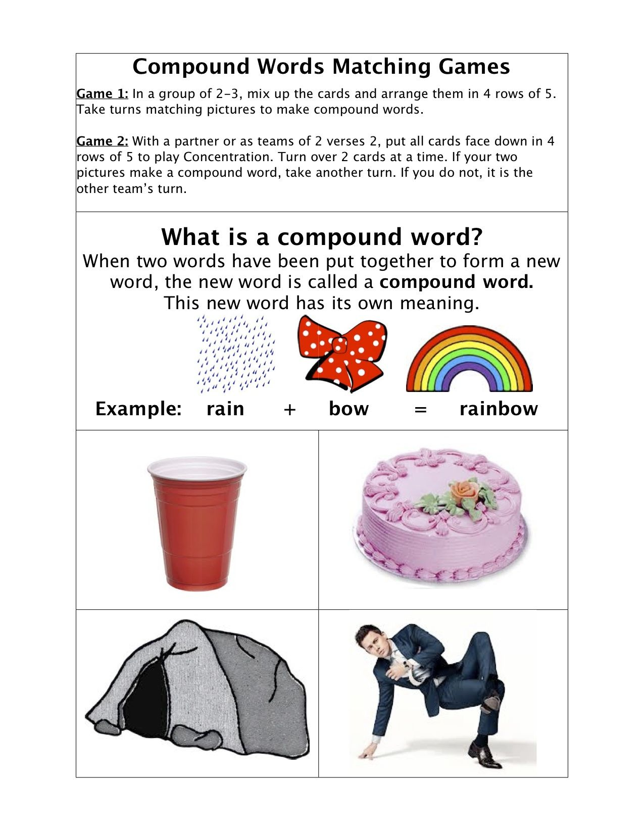 Compound Word Game By Kerry T Page 1