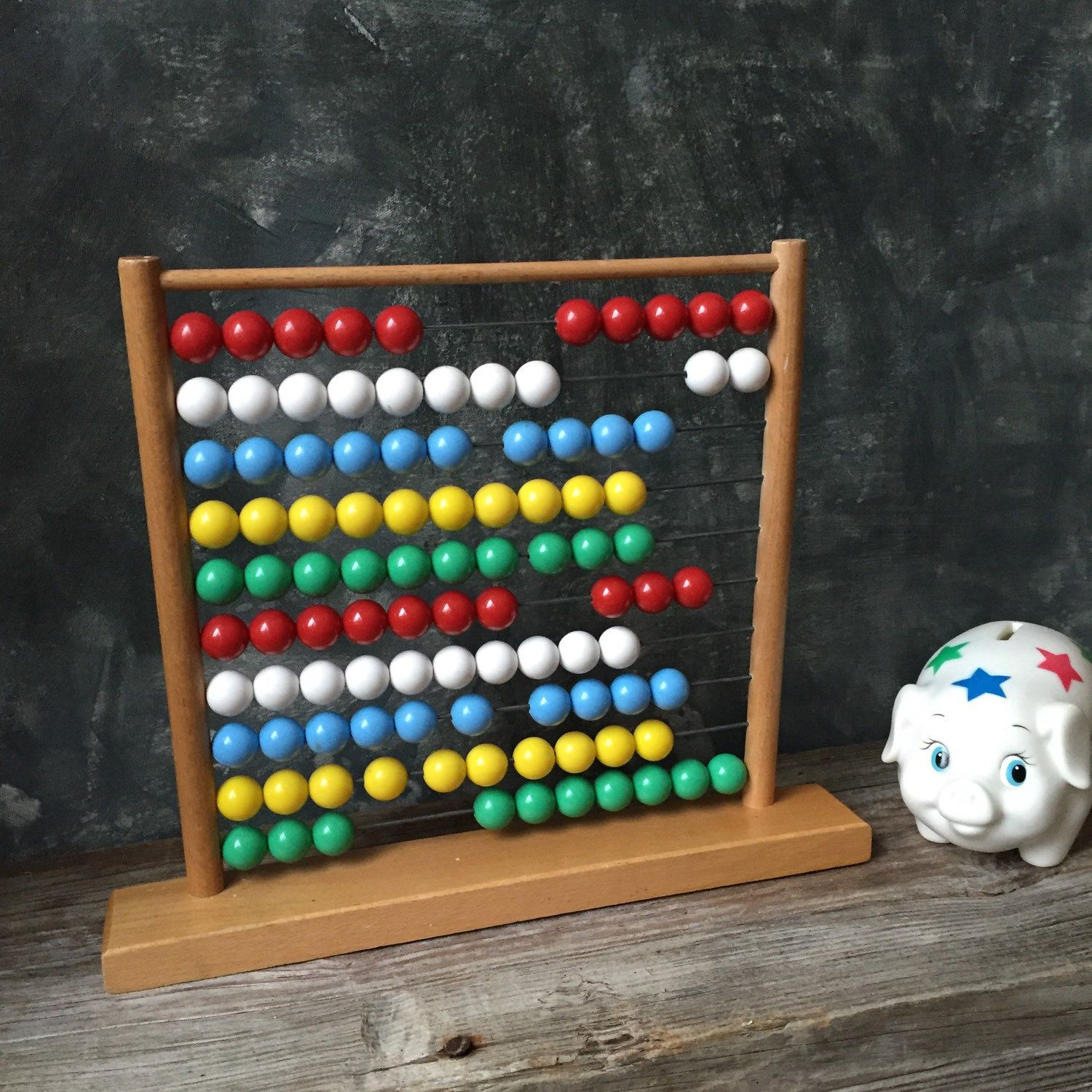 Vintage Abacus Classic Wooden Counting Toy, Wooden Abacus With Plastic