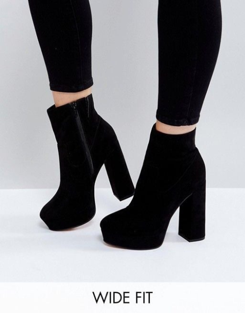 platform heel boots black