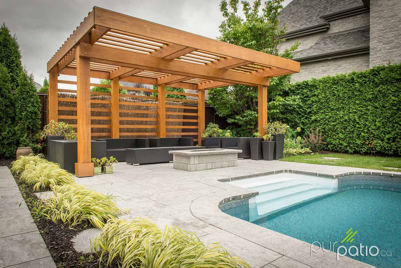 Coin d tente avec une pergola adjacente la piscine terrace gazebos design ext rieur de la - Pergola piscine ...