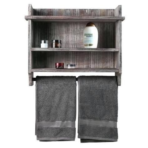 wooden bathroom shelf organizer with towel rack in 2020