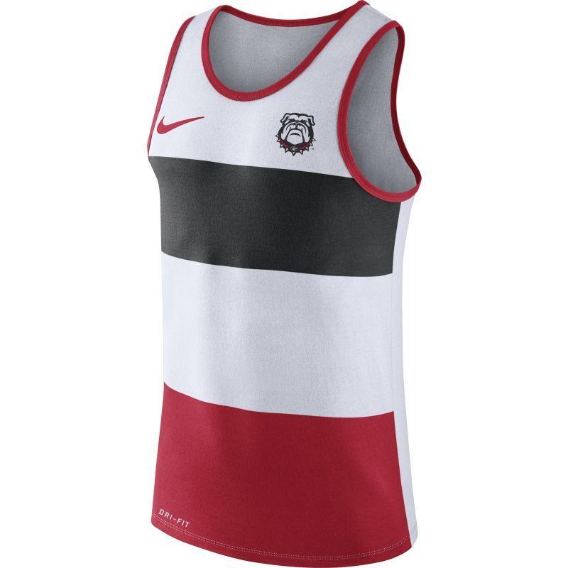 324b4fa81036ca Nike Men s Georgia Bulldogs White Black Red Wide Stripe Dri-Blend Tank