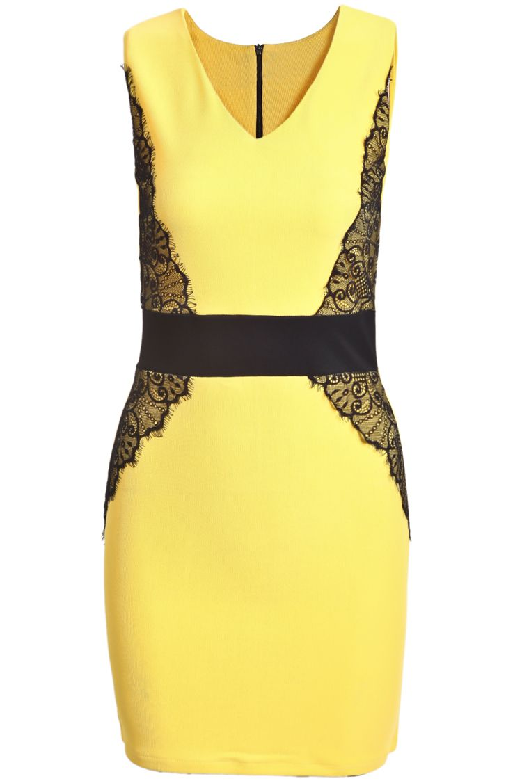 Black dress yellow accessories - Yellow Contrast Lace V Neck Bodycon Dress