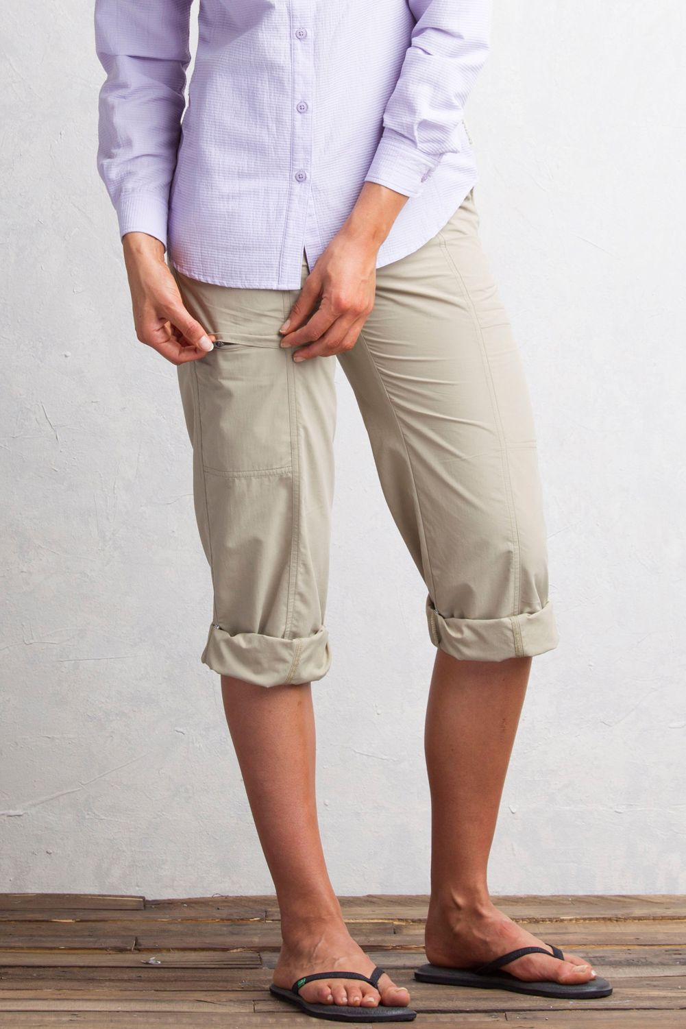 f8c84036d2a ExOfficio Sol Cool Nomad Pants roll up to capri style pants. Sol Cool  ExOfficio travel pants for women provide sun protection