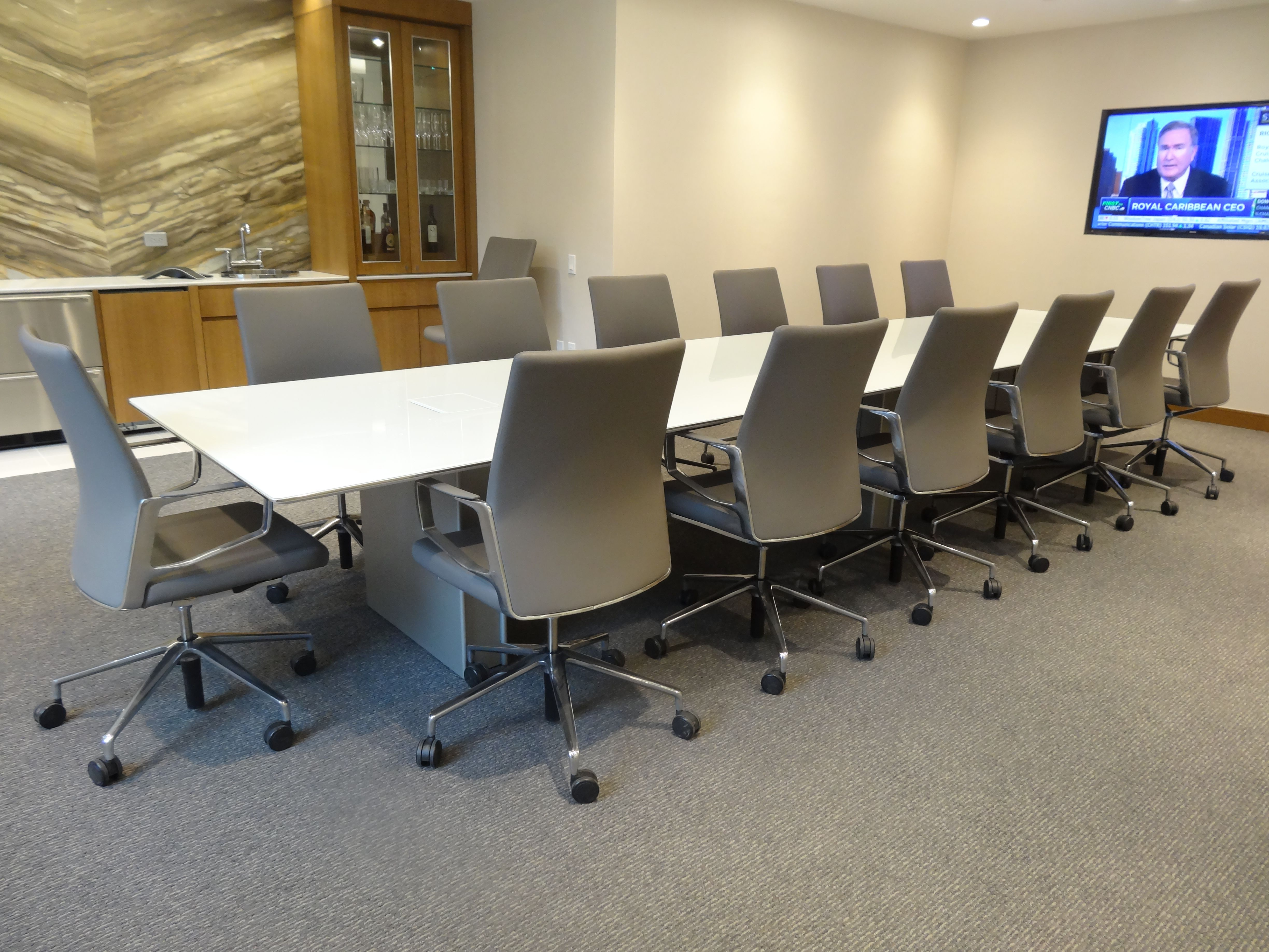 Prismatique Back Painted Glass Conference Table With Scissor Edge And Panel  Bases. KEILHAUER Aesync Conference