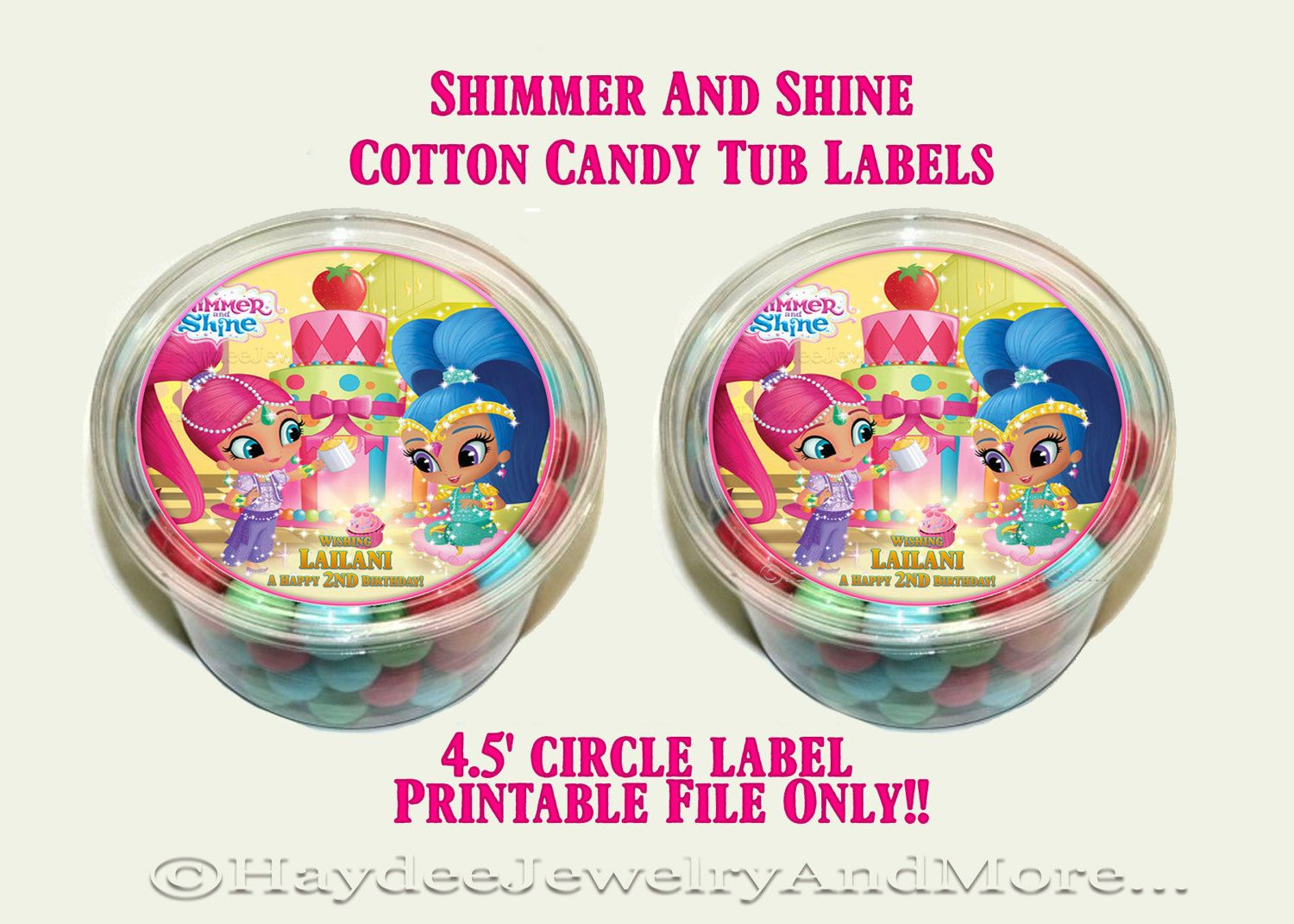 Shimmer And Shine Birthday Cotton Candy Labels