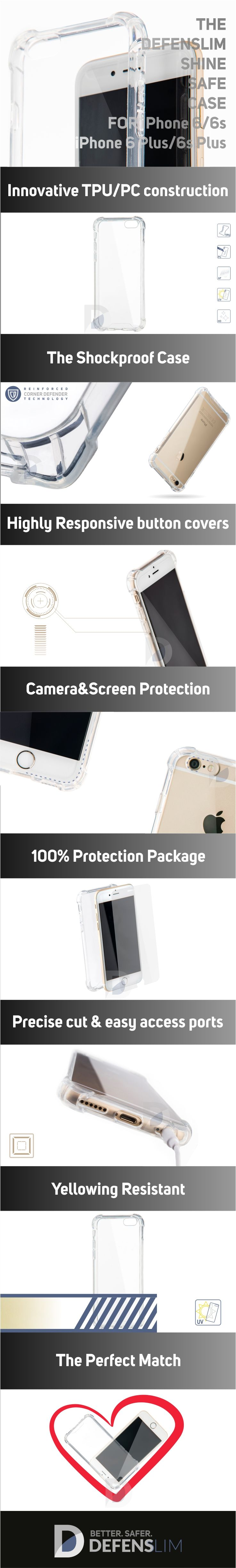 pretty nice aef72 a9a79 Defenslim Shine Safe Shock Proof Case Clear for Apple iPhone 6 /6s ...
