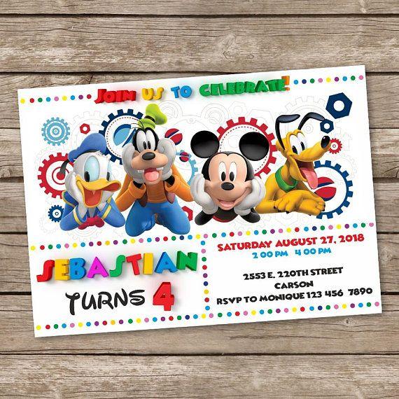 Mickey Mouse Birthday Invitation Mickey Mouse Party Invites Mickey