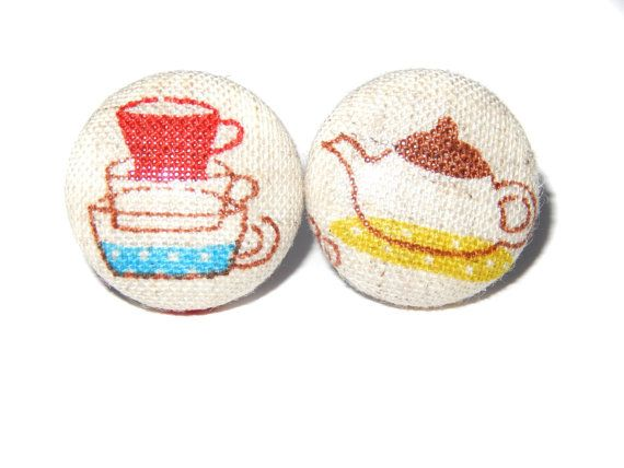 Afternoon Tea Fabric Covered Button Earrings by Rubenabird