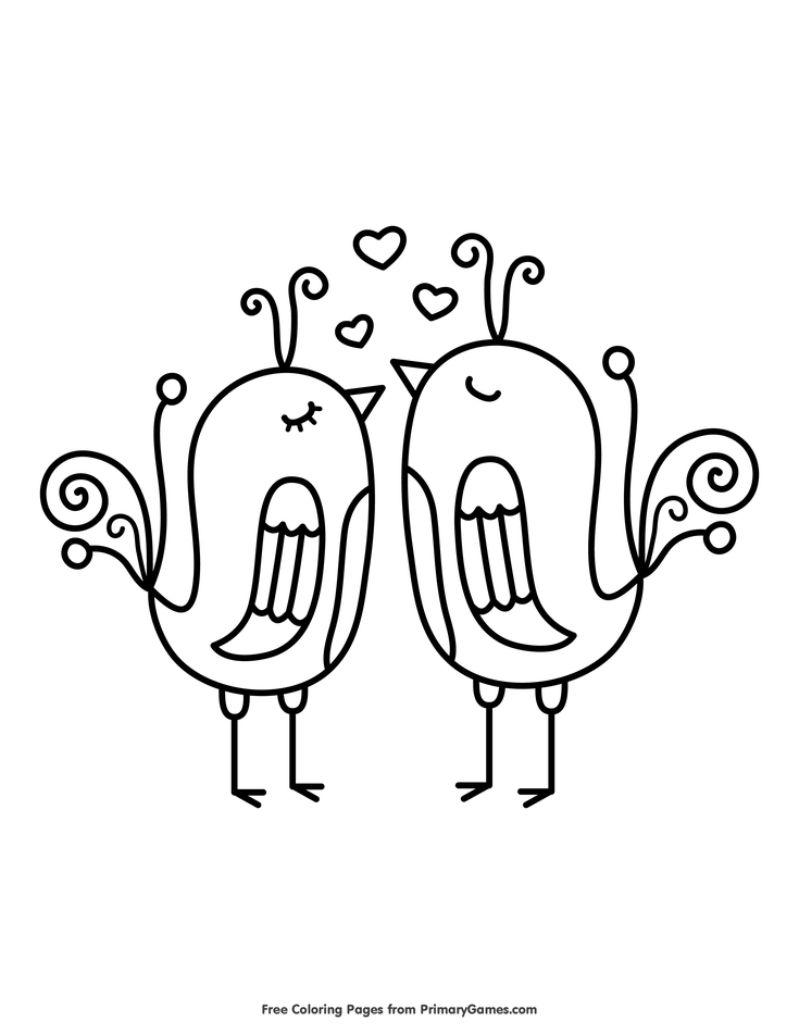 Valentine\'s Day Coloring Pages eBook: Love Birds | *~Valentine ...