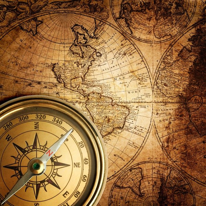 Old Compass On Vintage Map 1746 Wall Mural Pixers We Live To Change In 2020 Vintage Map Map Tattoos Compass