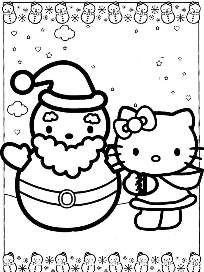 HEllo Kitty With Snowman Santa Coloring Pages Christmas