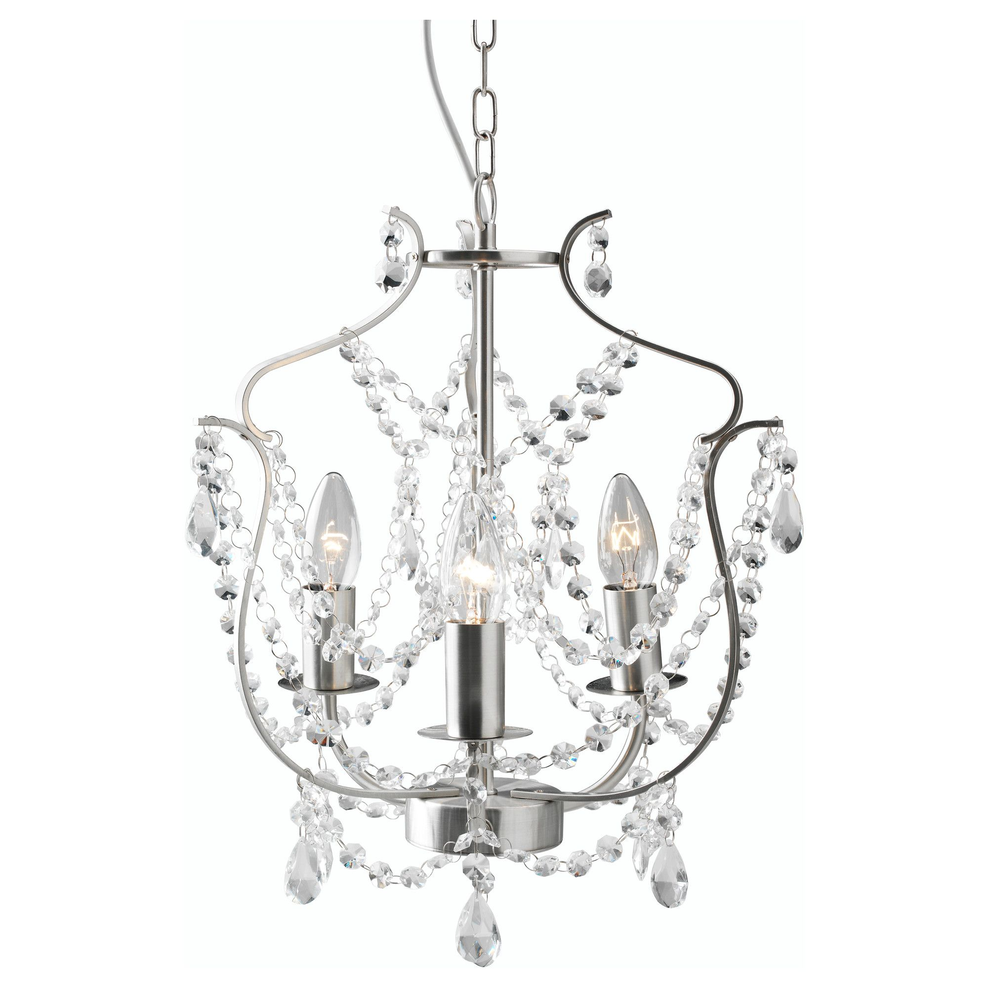 KRISTALLER Chandelier 3 armed silver color glass