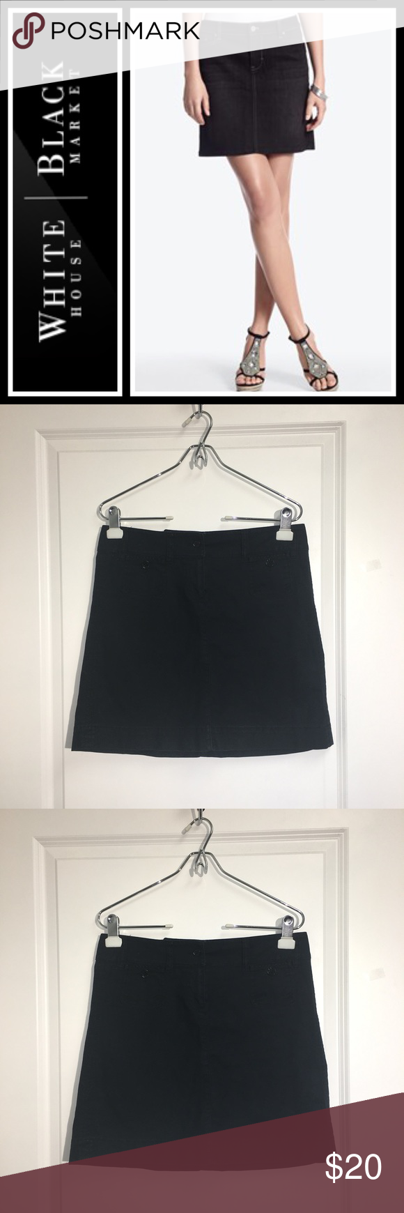 """WHBM black denim skirt Perfect condition, maybe worn twice - size 2 - length from top to bottom is 17"""" - cotton/ spandex Blend a little but not much stretch to it! Size 2 White House Black Market Skirts"""