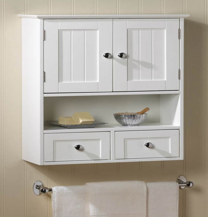 Nantucket White Wood Wall Mount Cabinet Bathroom Storage Shelf